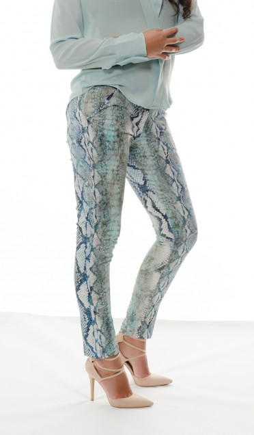 blue snake print trouser