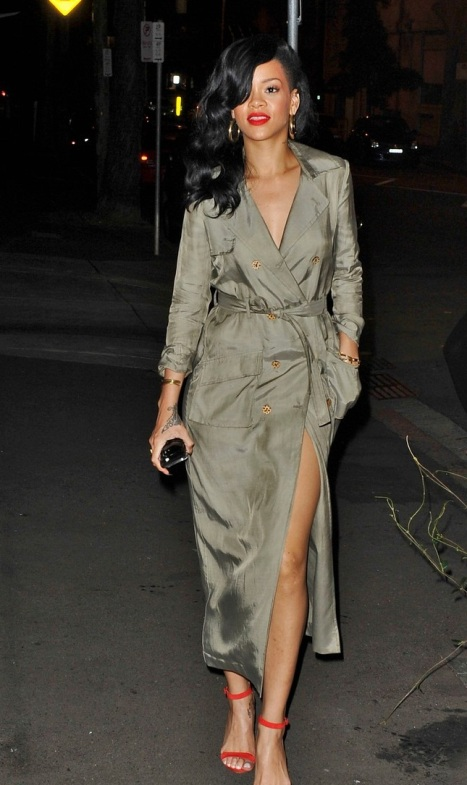 What's under Rihanna's trench coat?